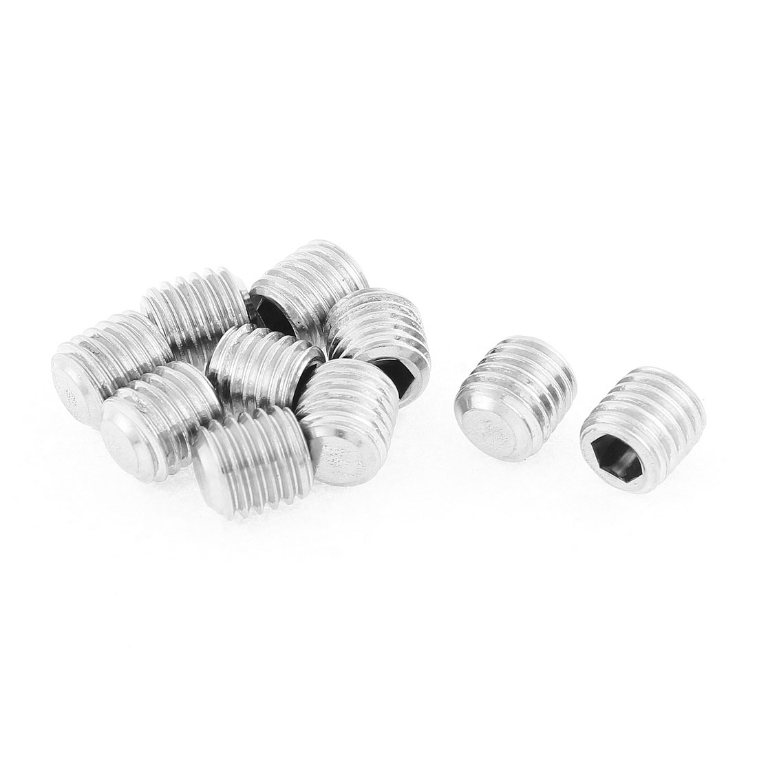 M12x12mm 1.75mm Pitch Stainless Steel Hex Socket Set Flat Point Grub Screws 10pcs