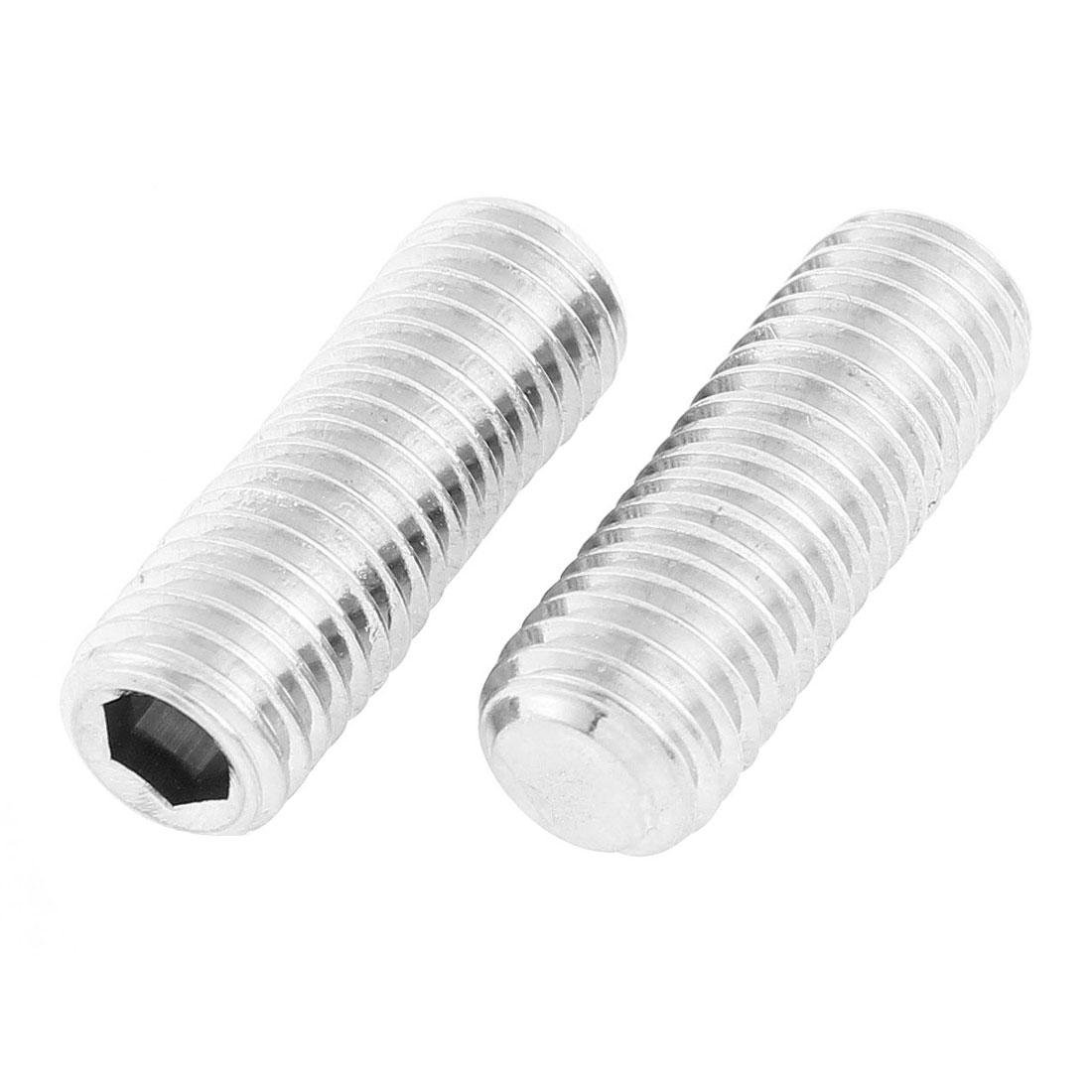 M12x35mm 1.75mm Pitch Stainless Steel Hex Socket Set Flat Point Grub Screws 2pcs