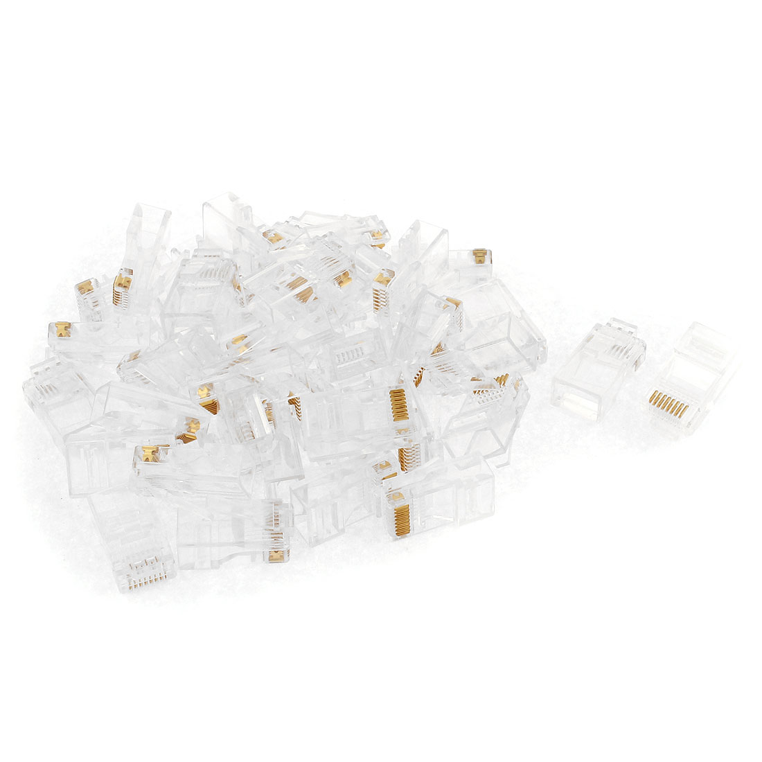 40 Pcs RJ45 8P8C Network Cable CAT 5E Shielded Modular Jack Connector Clear