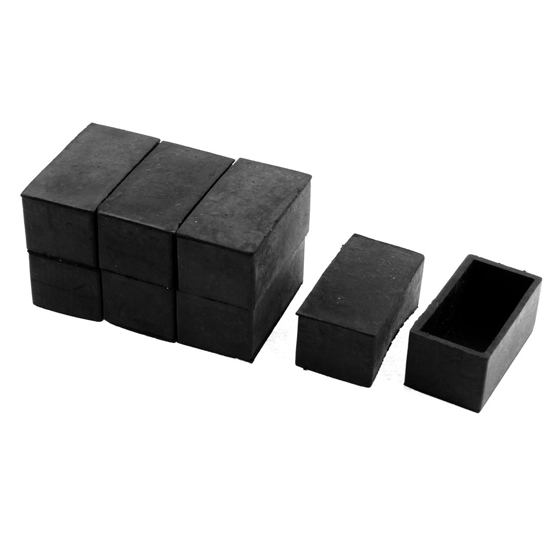 50mmx25mm Furniture Chair Leg Feet Floor Rubber Protectors Ferrules Black 8pcs