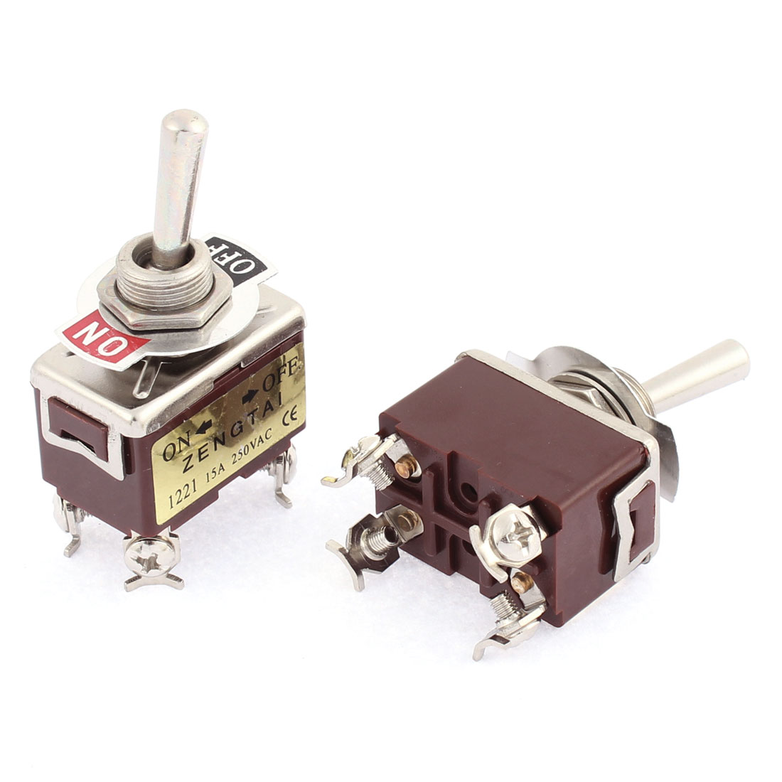 AC 250V 15A DPST ON-OFF 2 Positions 4 Terminals Latching Toggle Switch 2 Pcs