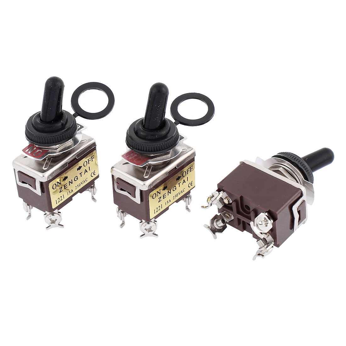 AC 250V 15A DPST ON-OFF 2 Positions 4 Terminals Latching Toggle Switch 3 Pcs
