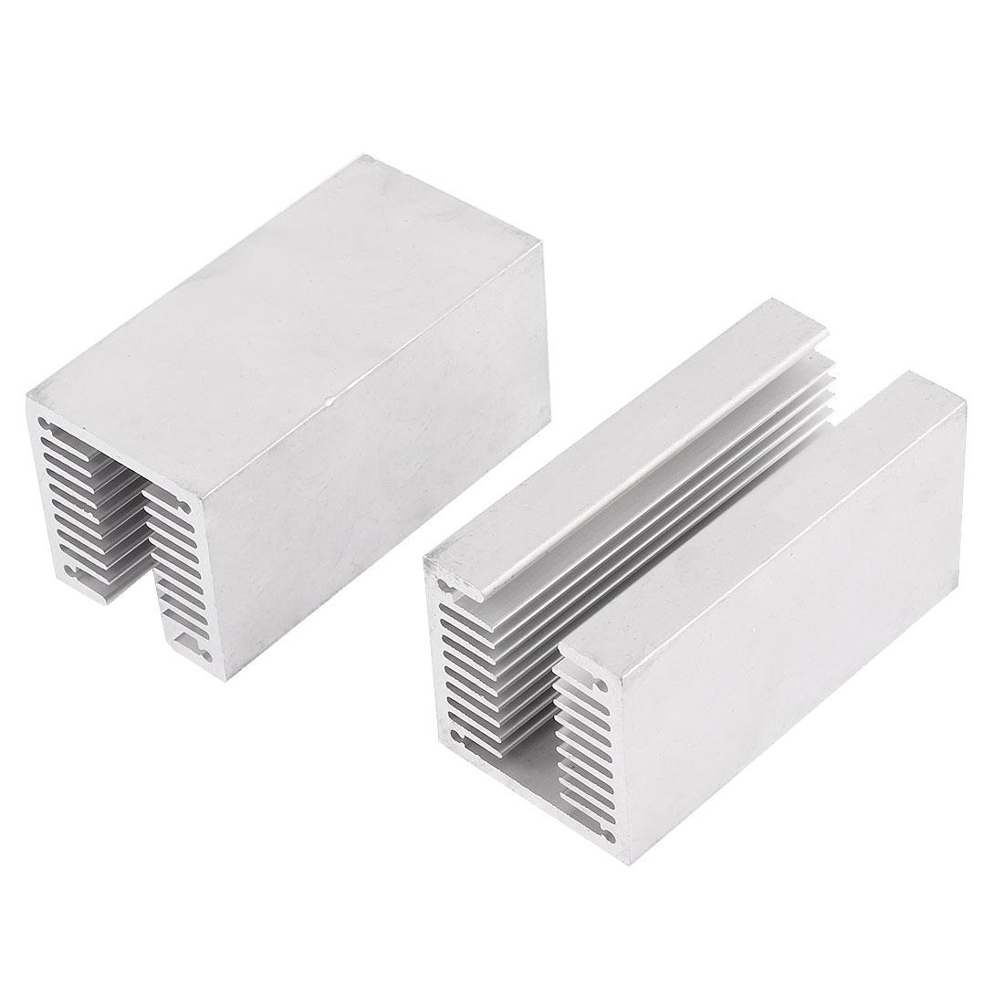 2 Pcs 80mmx40mmx40mm U Shaped Aluminium Radiator Heatsink Silver Tone