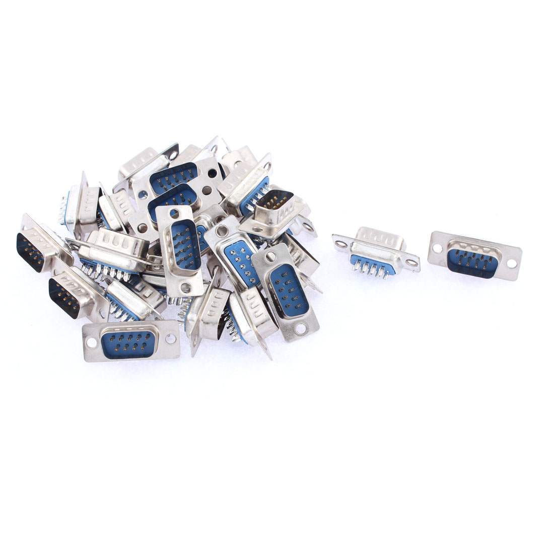 30 Pcs DB9 RS232 Serial Solder Type 2 Rows 9 Pin Male Connector Adapter