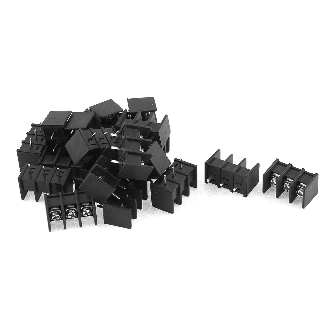 300V 20A 3 Position 6mm Pitch Screw Terminal Barrier Blocks Black 20pcs