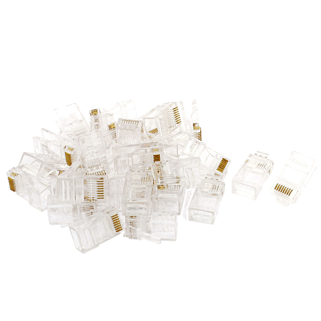 30 Pcs RJ45 8P8C Network Cable CAT 5E Shielded Modular Jack Connector Clear
