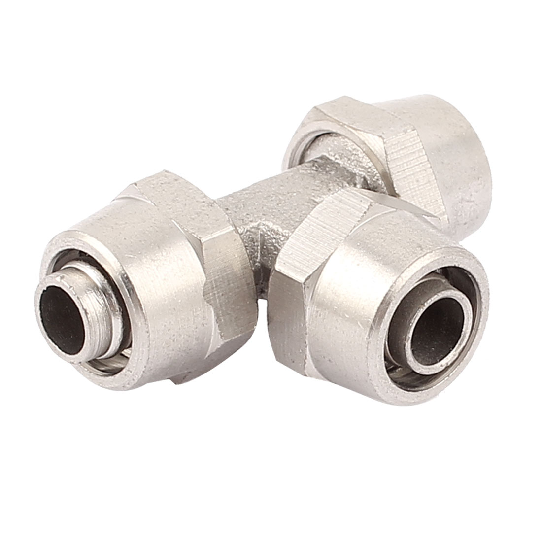 10mm Tube Dia Metal T Shape 3 Ways Pneumatic Quick Coupler Connector