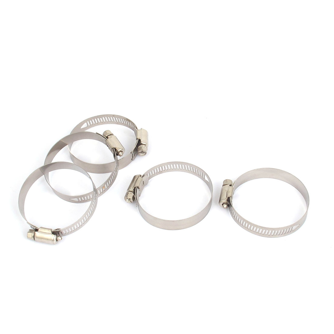 44mm to 64mm Range 12mm Band Width Stainless Steel Hose Pipe Clamp Hoop 5pcs