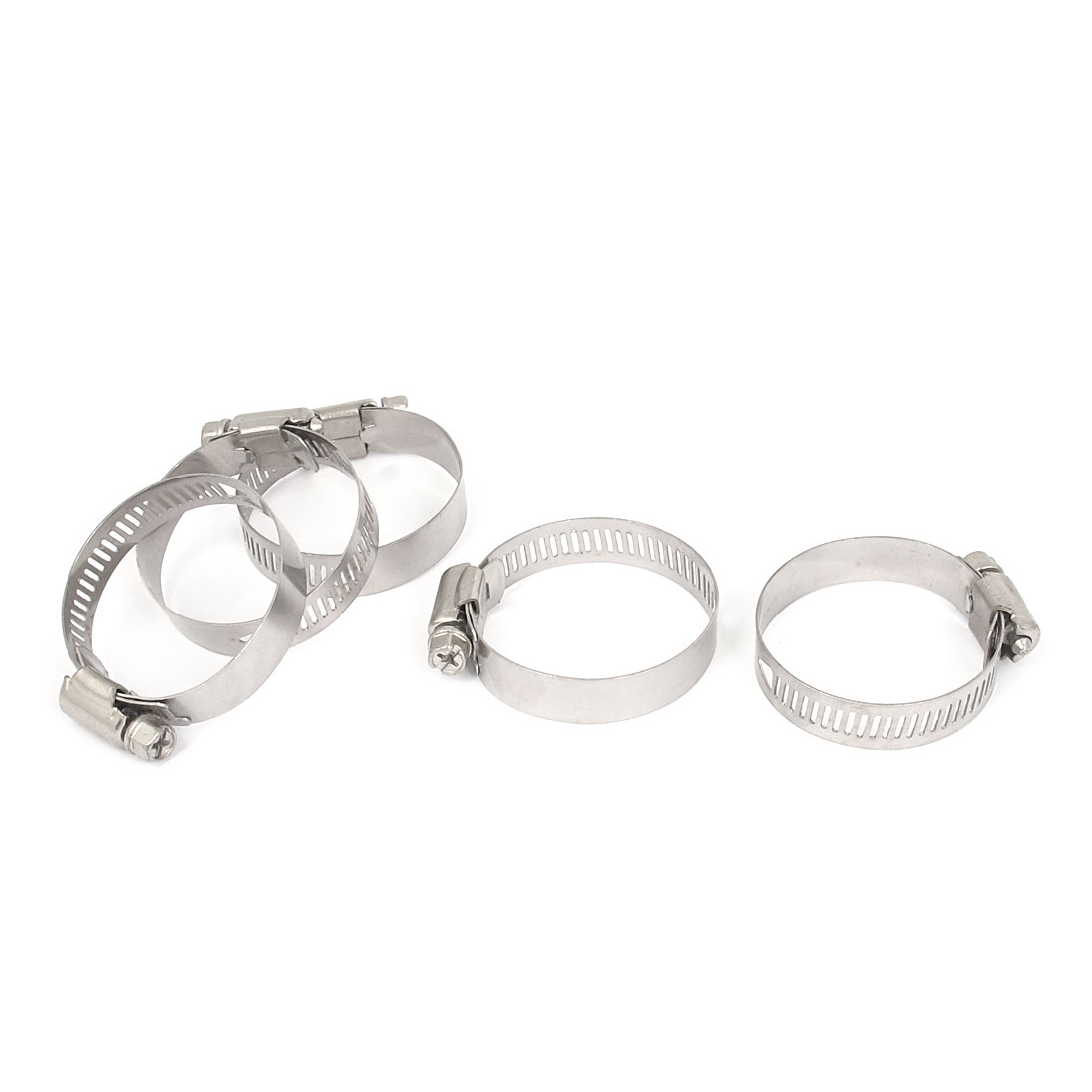 35mm to 51mm Range 13mm Band Width Stainless Steel Hose Pipe Clamp Hoop 5pcs