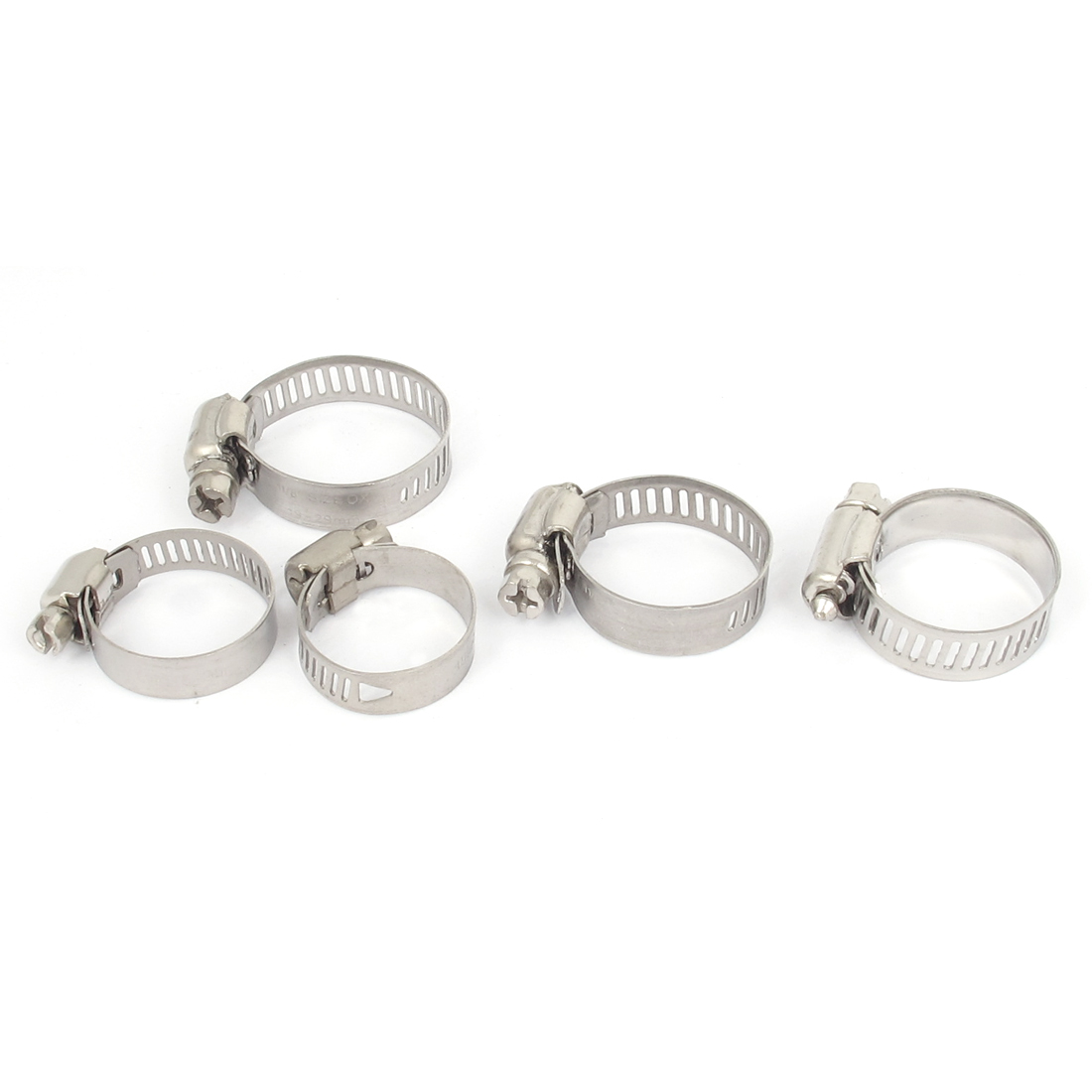 16mm to 25mm Range 10mm Band Width Stainless Steel Hose Pipe Clamp Hoop 5pcs