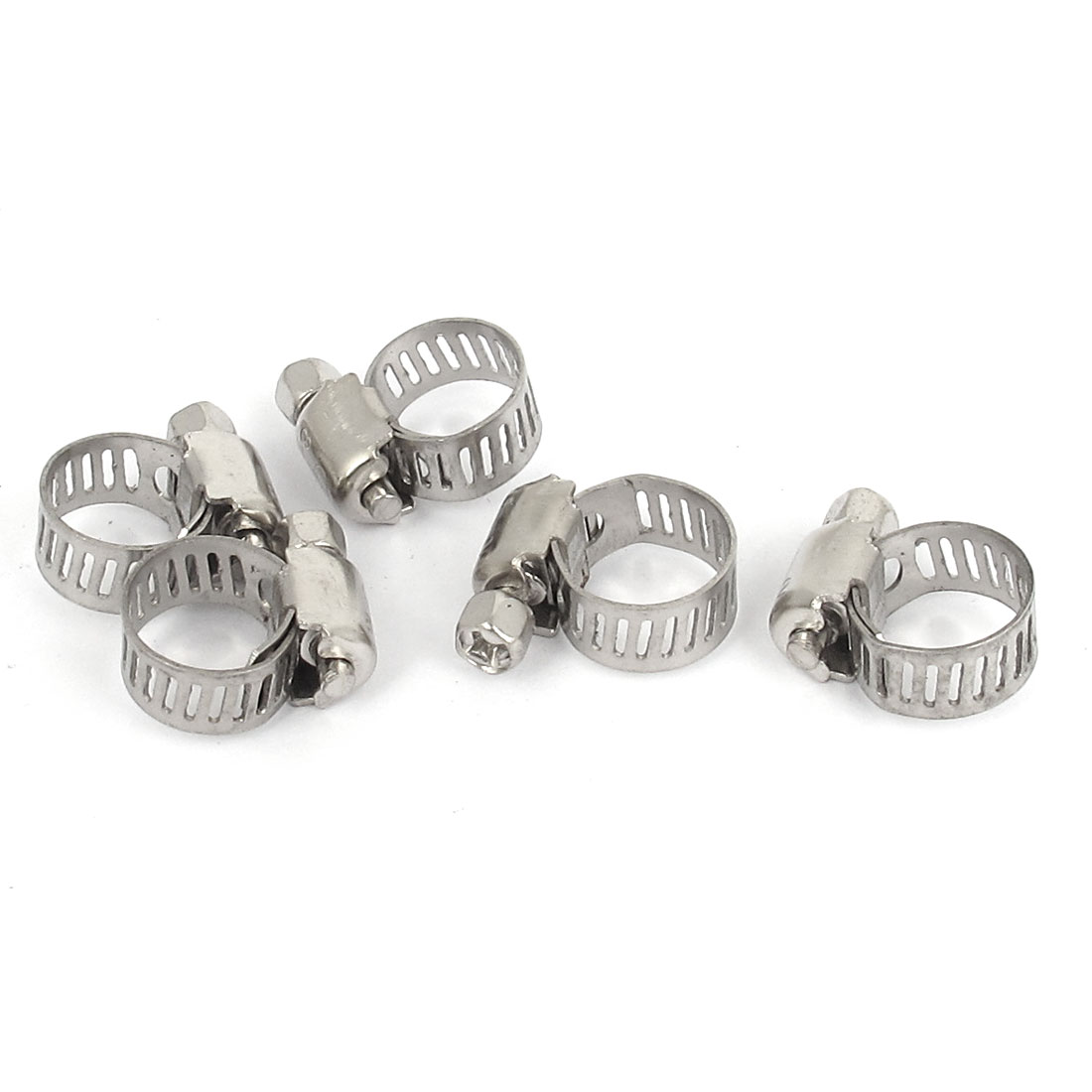 8mm to 12mm Range 8mm Band Width Stainless Steel Hose Pipe Clamp Hoop 5pcs