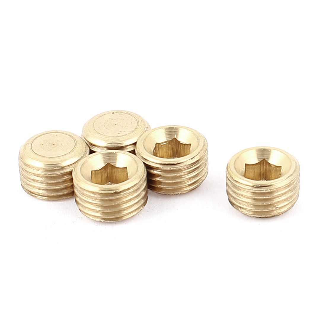 1/4BSP Male Thread Copper Hex Socket Head Pipe Plug Connector Coupling Adapter 5pcs