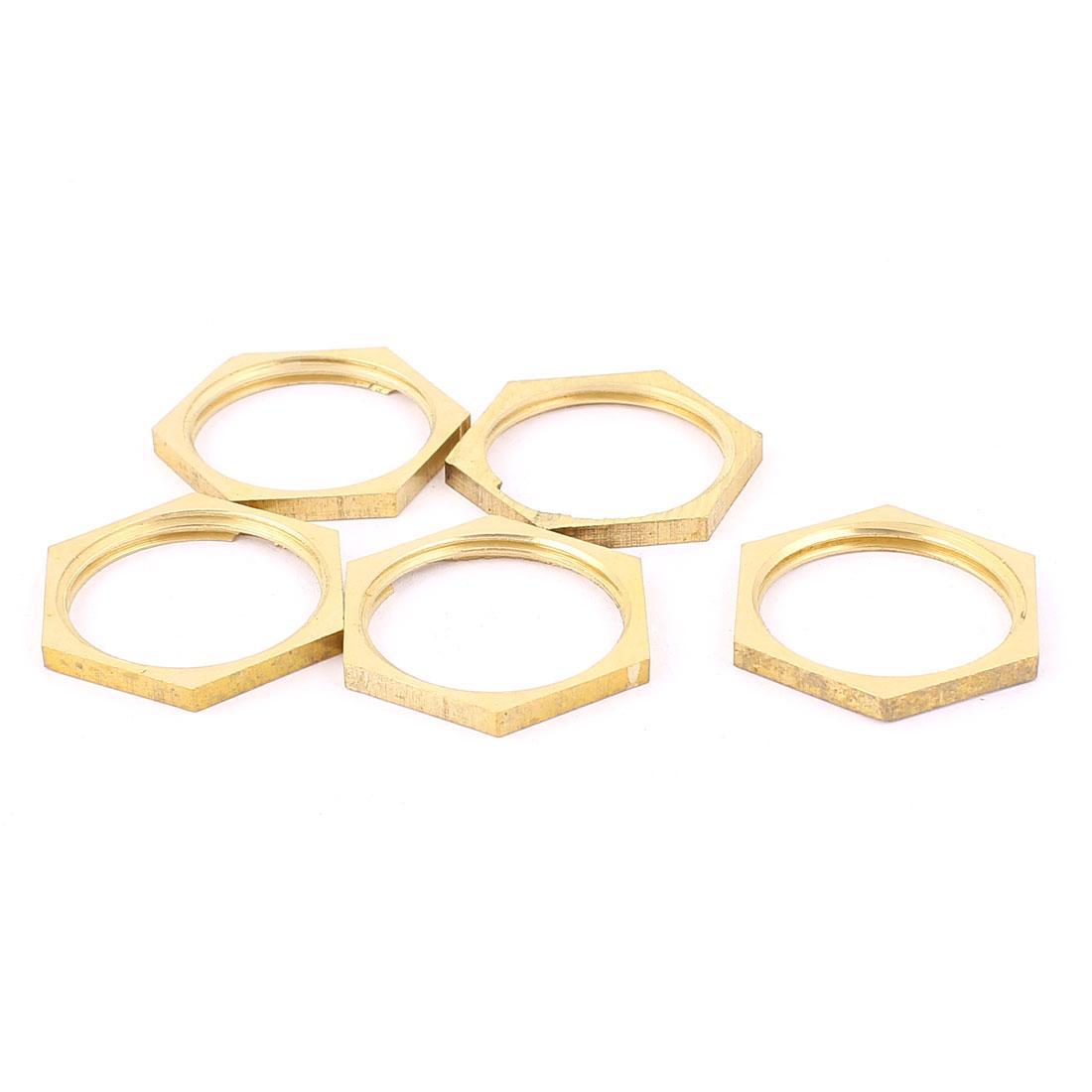 3/4BSP Female Thread Brass Pipe Fitting Hex Lock Nut Brass Tone 5pcs