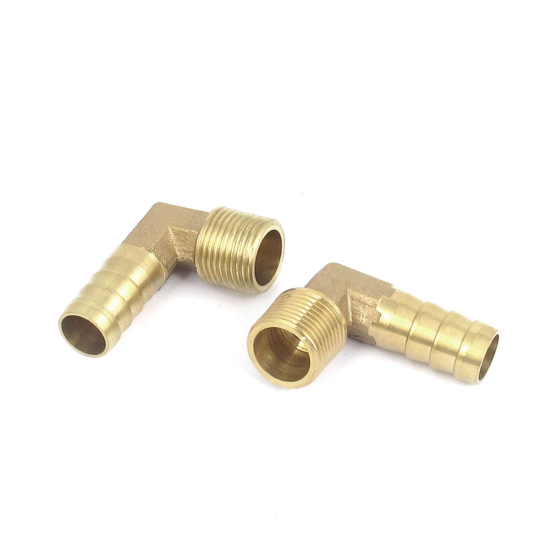 3/8BSP Thread 12mm Tube Dia 90 Degree Brass Hose Barb Coupler Connector 2pcs