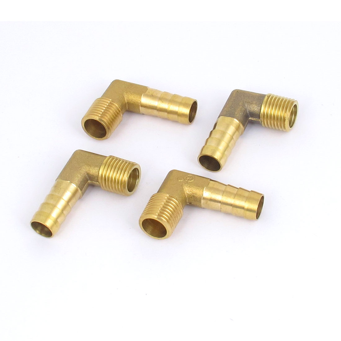 1/4BSP Thread 10mm Tube Dia 90 Degree Brass Hose Barb Coupler Connector 4pcs