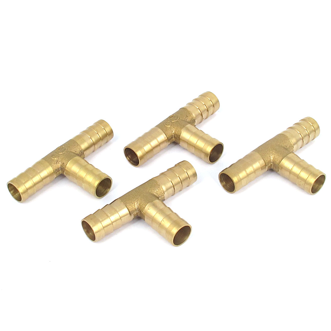 4 Pcs Brass T-Shape 3 Ways Hose Barb Fitting Adapter Coupler Connector 10mm Dia