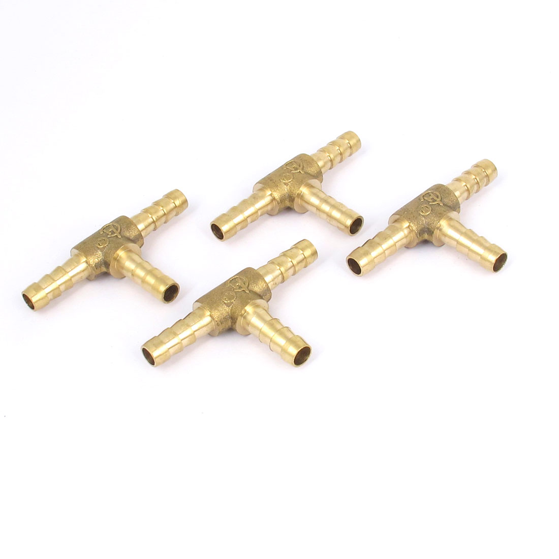 4 Pcs Brass T-Shape 3 Ways Hose Barb Fitting Adapter Coupler Connector 6mm Dia