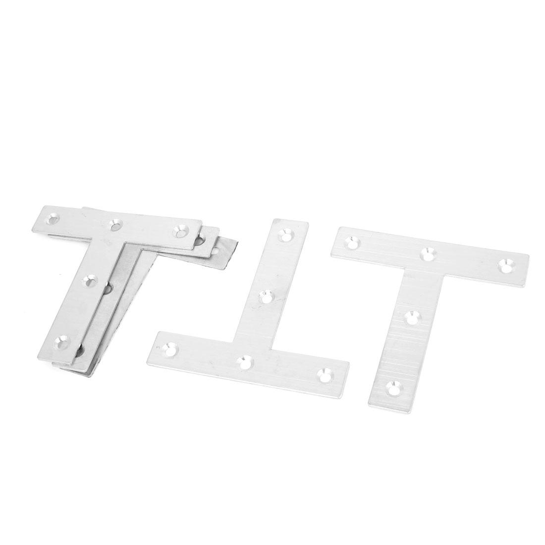 80mmx80mm Flat T Shape Corner Brace Mending Plate Angle Brackets 5PCS