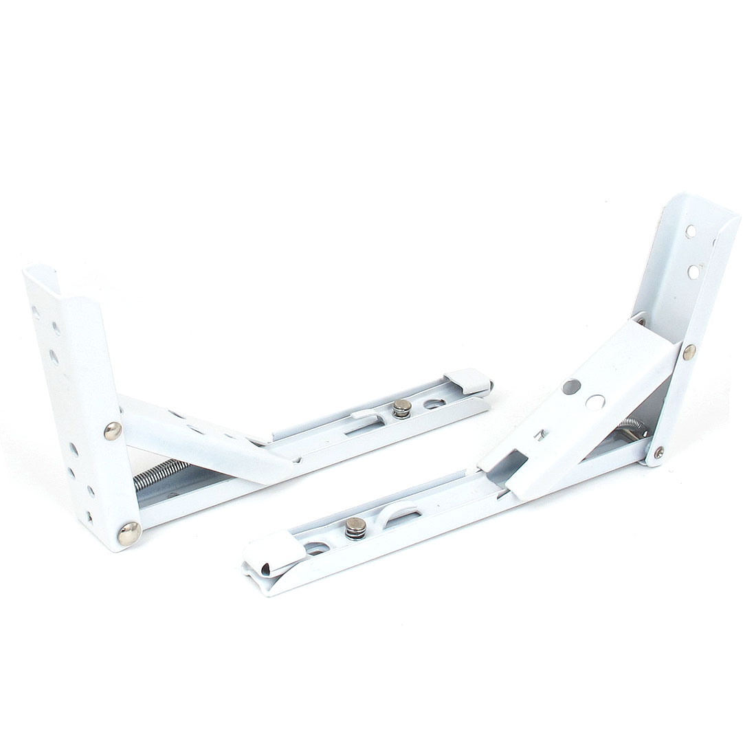 200mmx110mm L Shaped Metal Right Angle Folding Shelf Bracket White 2pcs