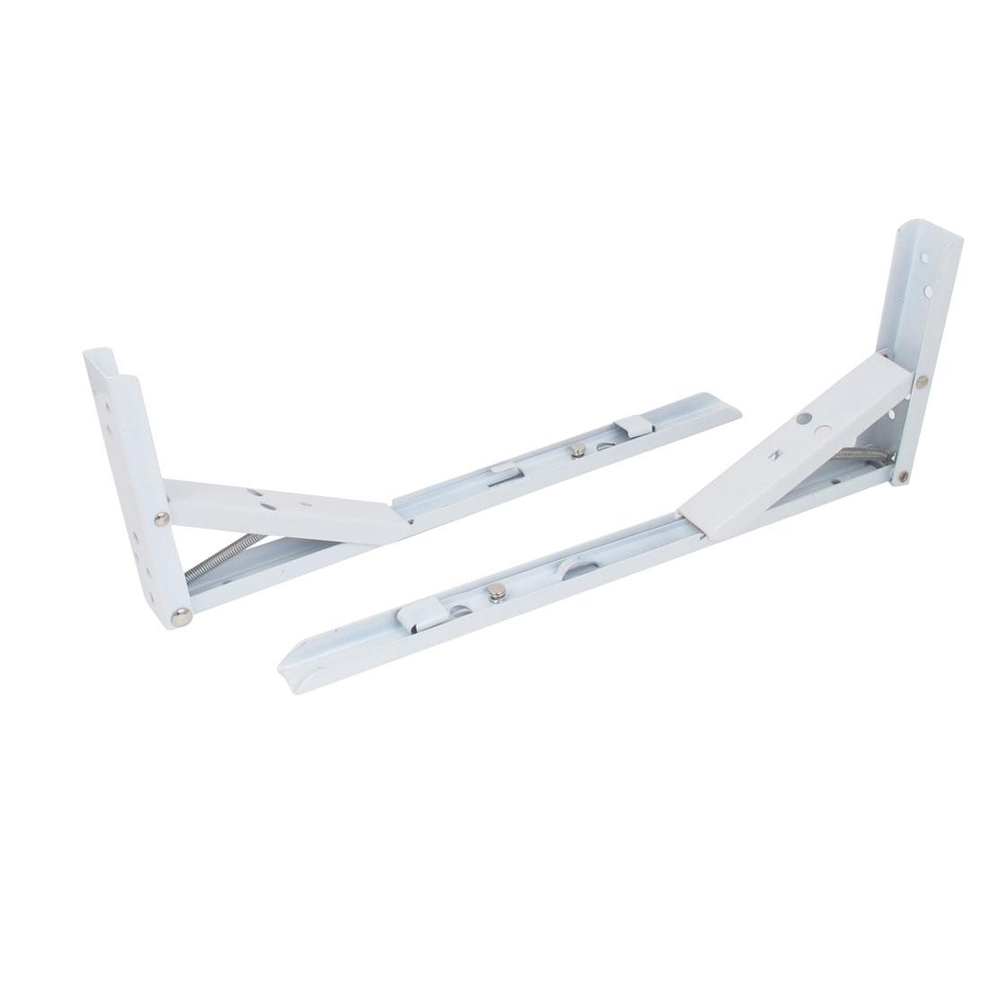 """14"""" x 5"""" L Shaped Metal Right Angle Folding Shelf Bracket White 2pcs"""