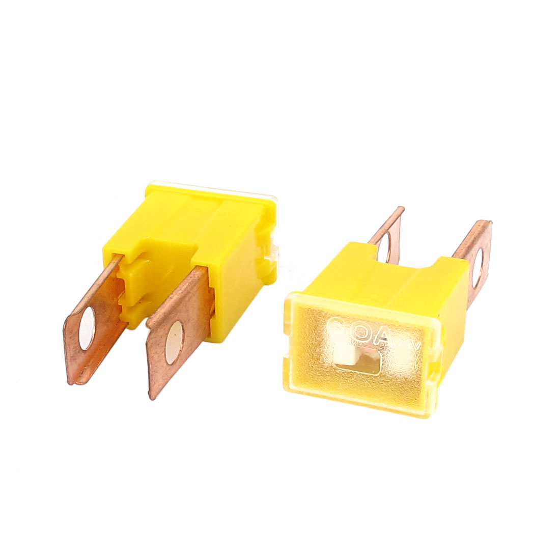 Auto Car 60A 32V Male PAL 2 Straight Blade Slow Blow Fuse Yellow 2Pcs