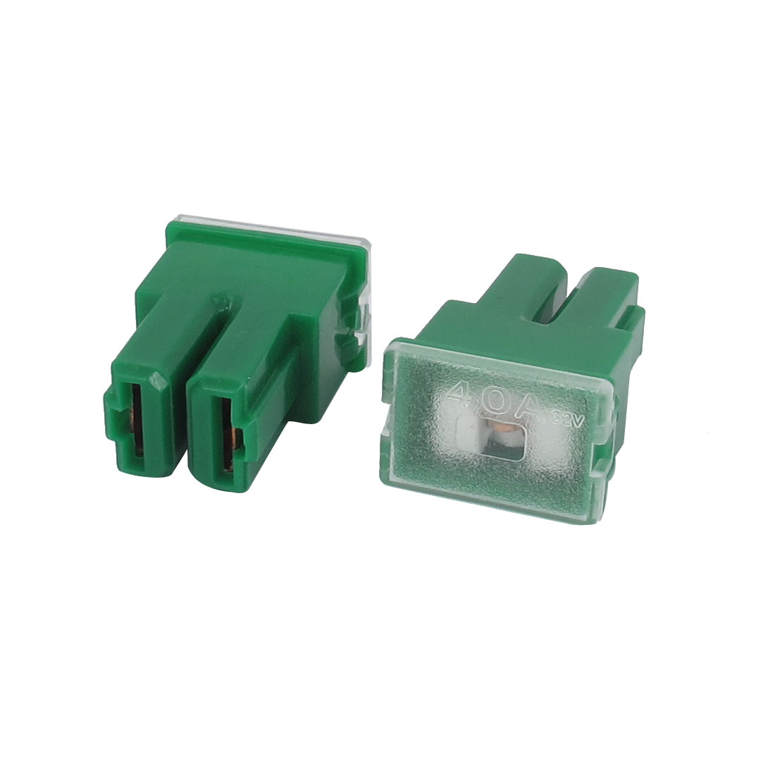 Auto Car Truck 40A 32V Female PAL 2 Terminal Slow Blow Fuse Green 2Pcs