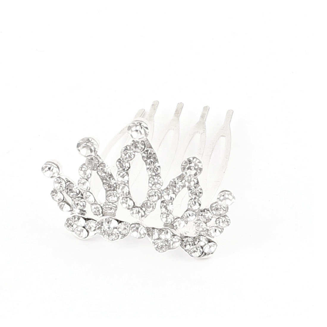 Wedding Bridal Faux Rhinestone Detail Hairpin Hair Crown Comb Clip Silver Tone