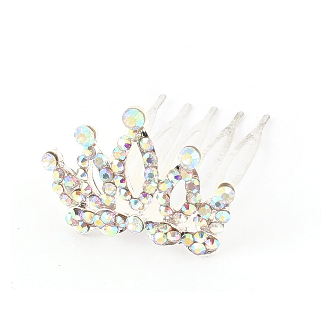 Bridal Wedding Glittery Faux Rhinestone Accent Hairpin Hair Crown Comb Clip