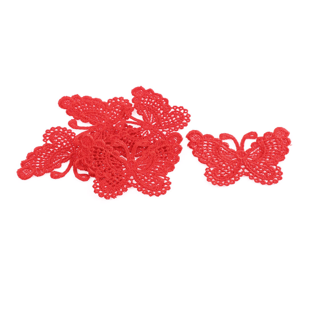 Costume Dress Butterfly Shaped Lace Trims Applique Sewing Craft Red 5 Pcs