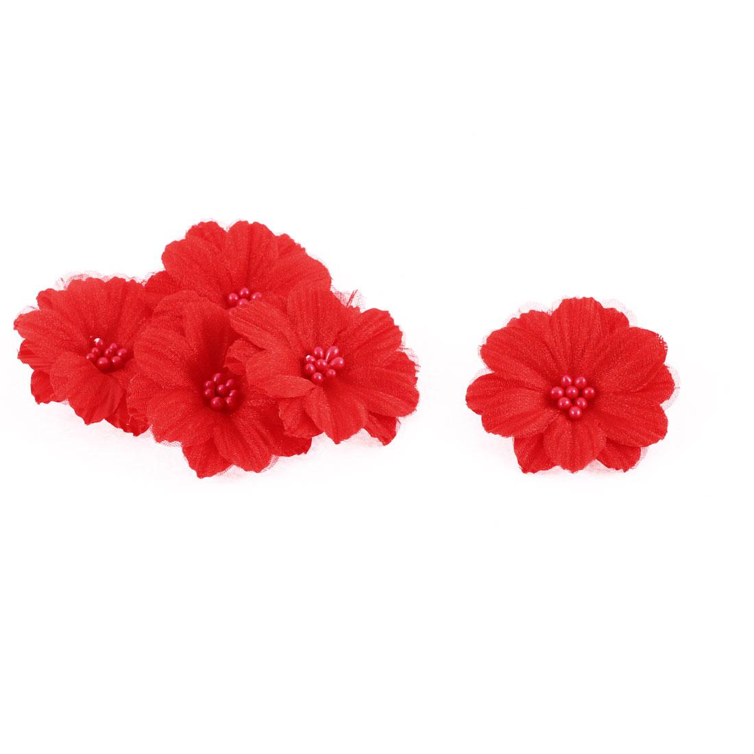 "Party Wedding Bride Dress Decoration Artificial Flower Red 2"" Dia 5pcs"