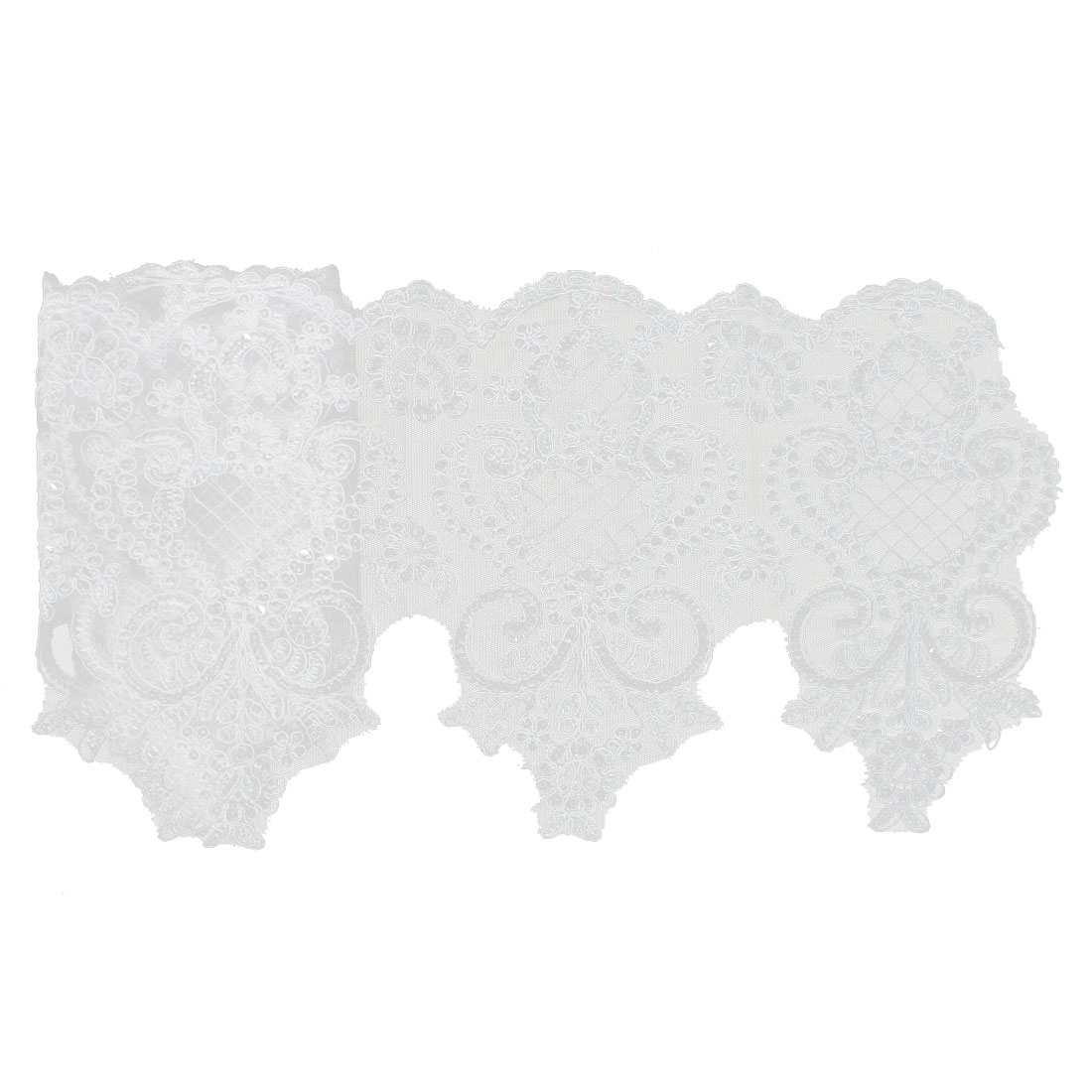 Bridal Dress Veil Shiny Sequins Decor Lace Flowers Trim Appliques Decorative Ribbon