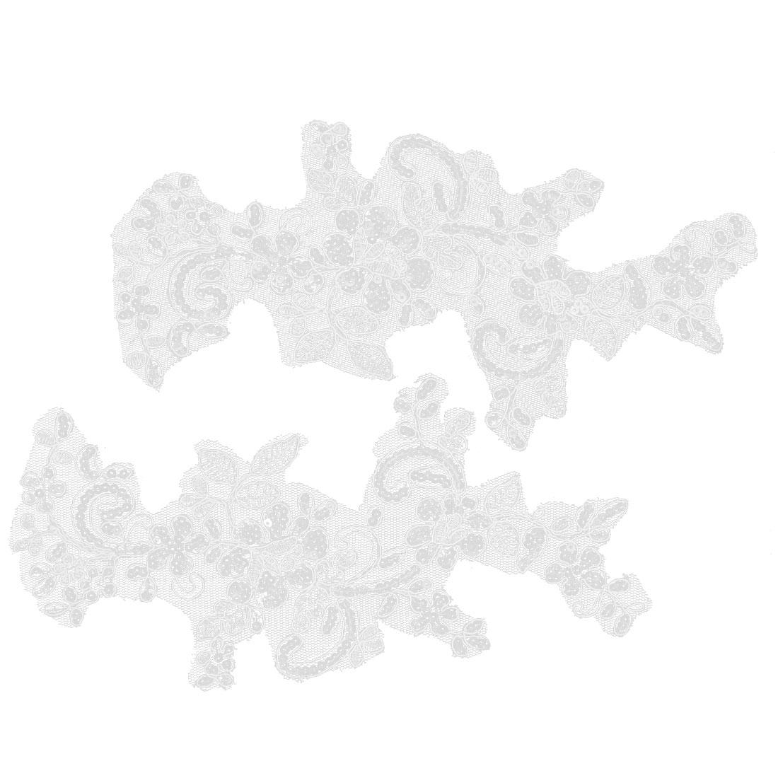 Wedding Bride Dress Veil Lace Trim Flower Applique Shiny Sequins Decor White Pair
