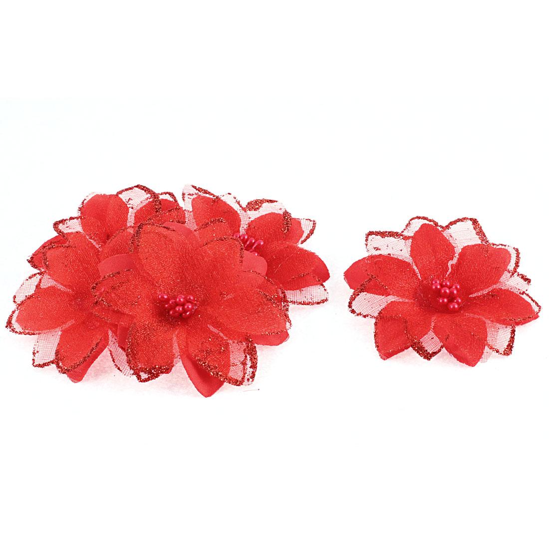 Party Wedding Bride Veil Dress Decorative Artificial Flower Red 6cm Dia 5pcs