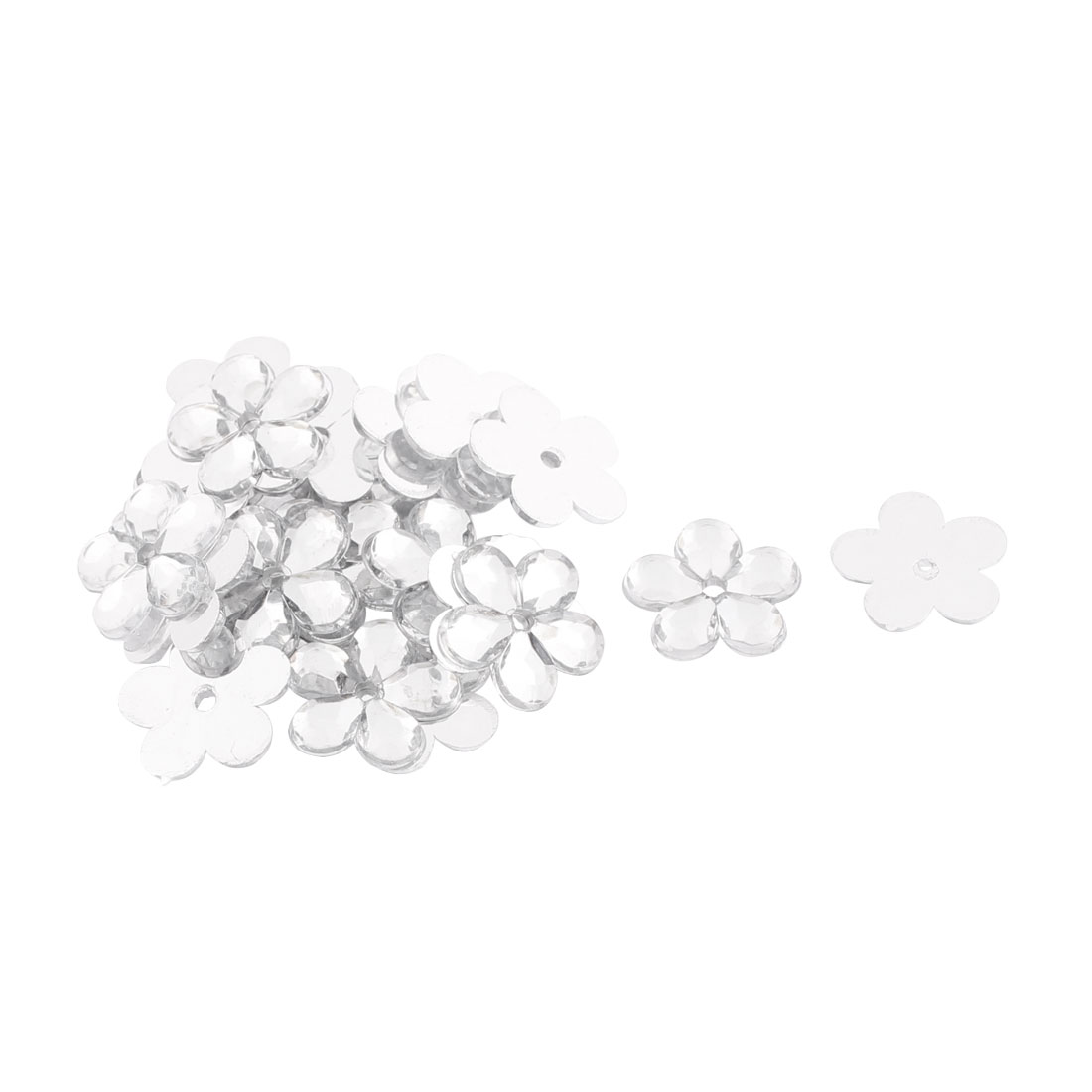 Clothing Dress Accessary Flat Back Flower Shaped Rhinestone Crystal DIY Decor 20pcs