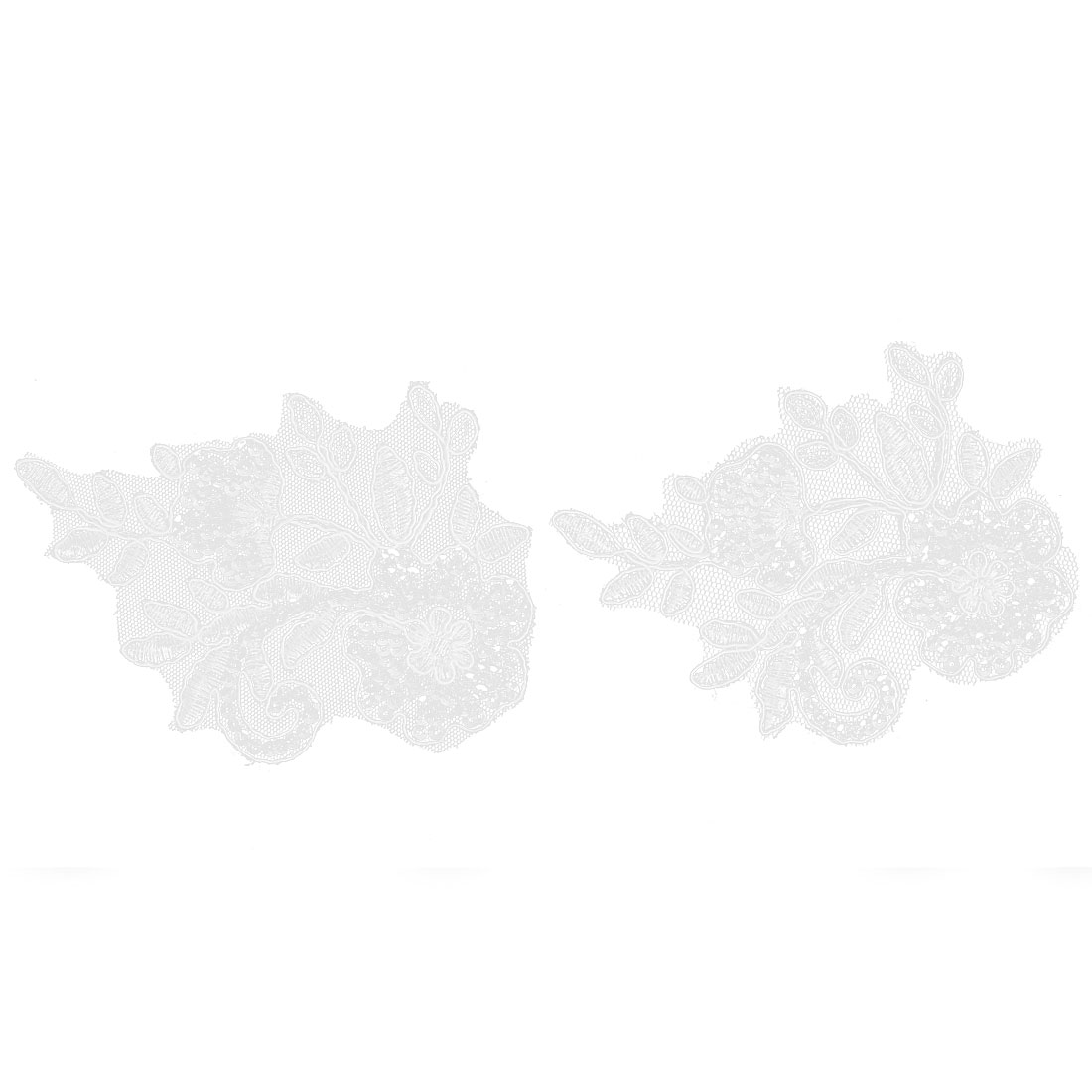 Bridal Dress Veil Shiny Sequins Decor Lace Flowers Appliques Motif Pair