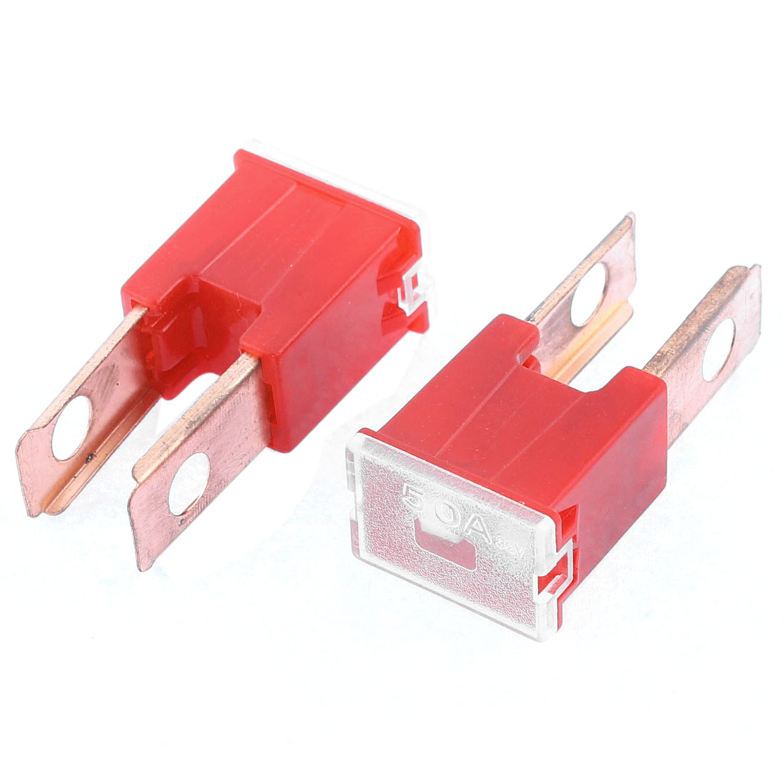 Auto Car Truck Male PAL 2 Terminals Slow Blow Fuse Red 50A 32V 2 Pcs