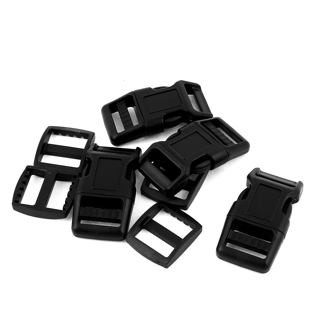 8 in 1 Black Plastic 20mm Wdith Backpack Rucksack Quick Release Buckle w Hooks