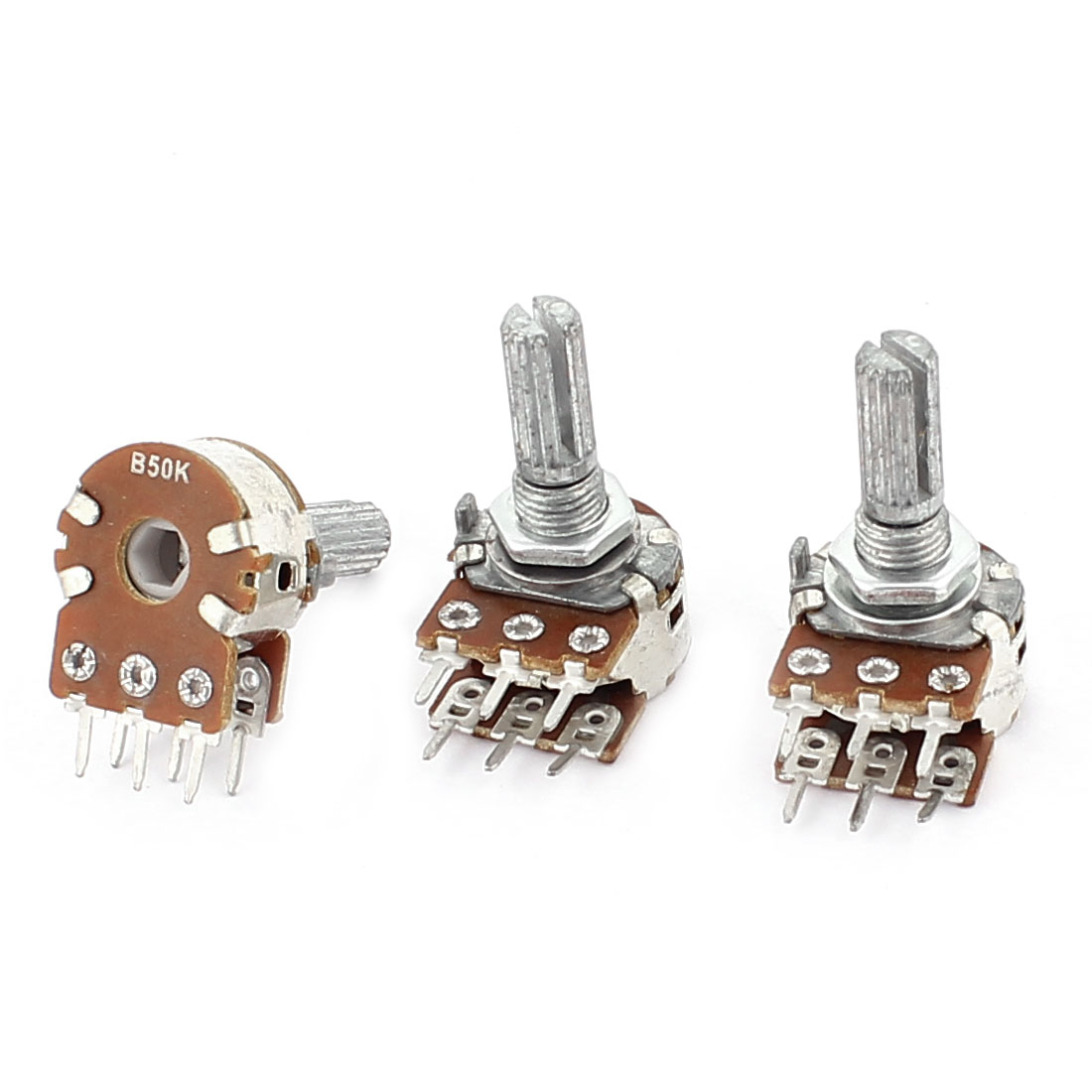 3Pcs B50K 50K Ohm 6mm Knurled Shaft Double Linear B Type Adjustable Rotary Knob Potentiometers