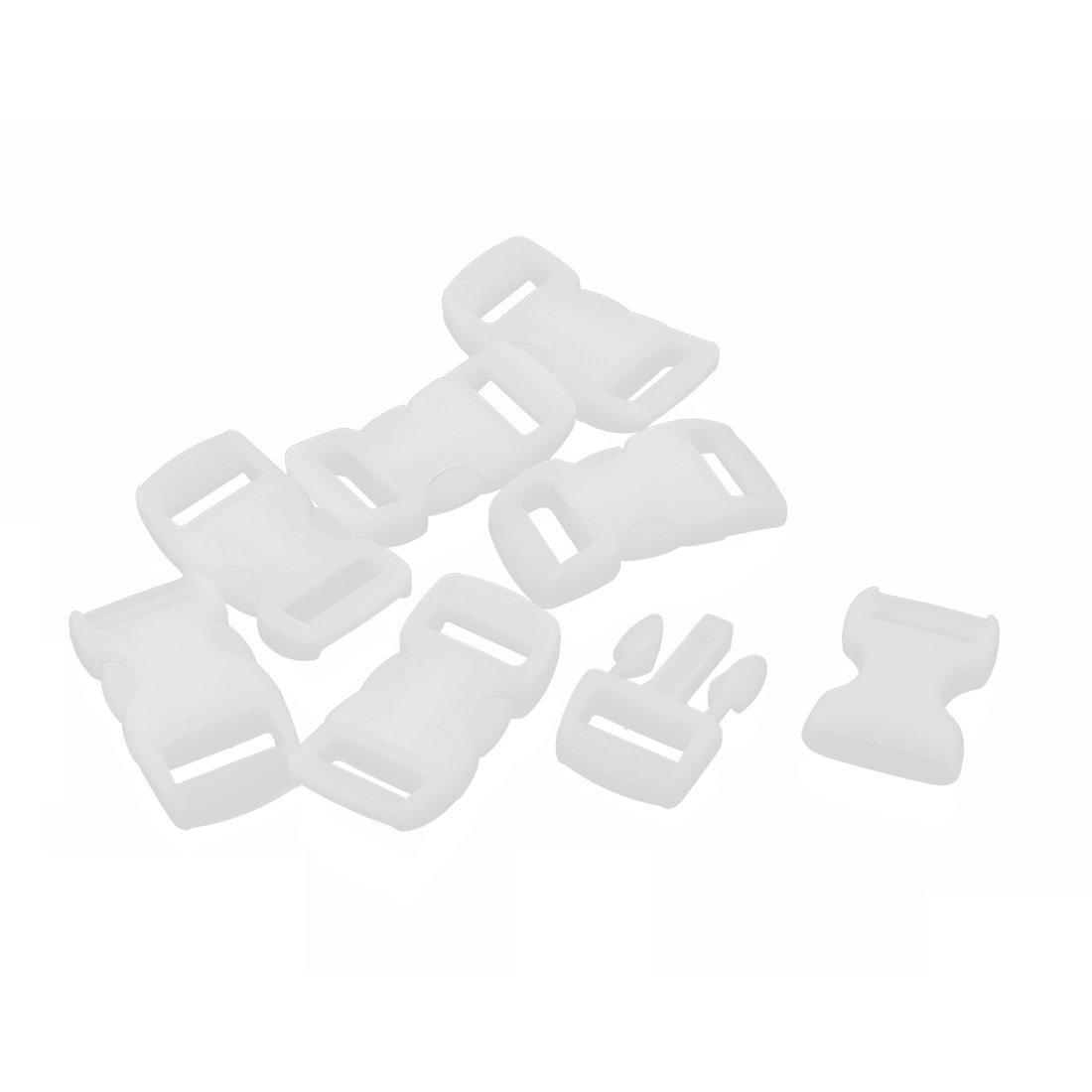 7 Pcs 11mm Width White Plastic Backpack Rucksack Quick Release Buckle Clip