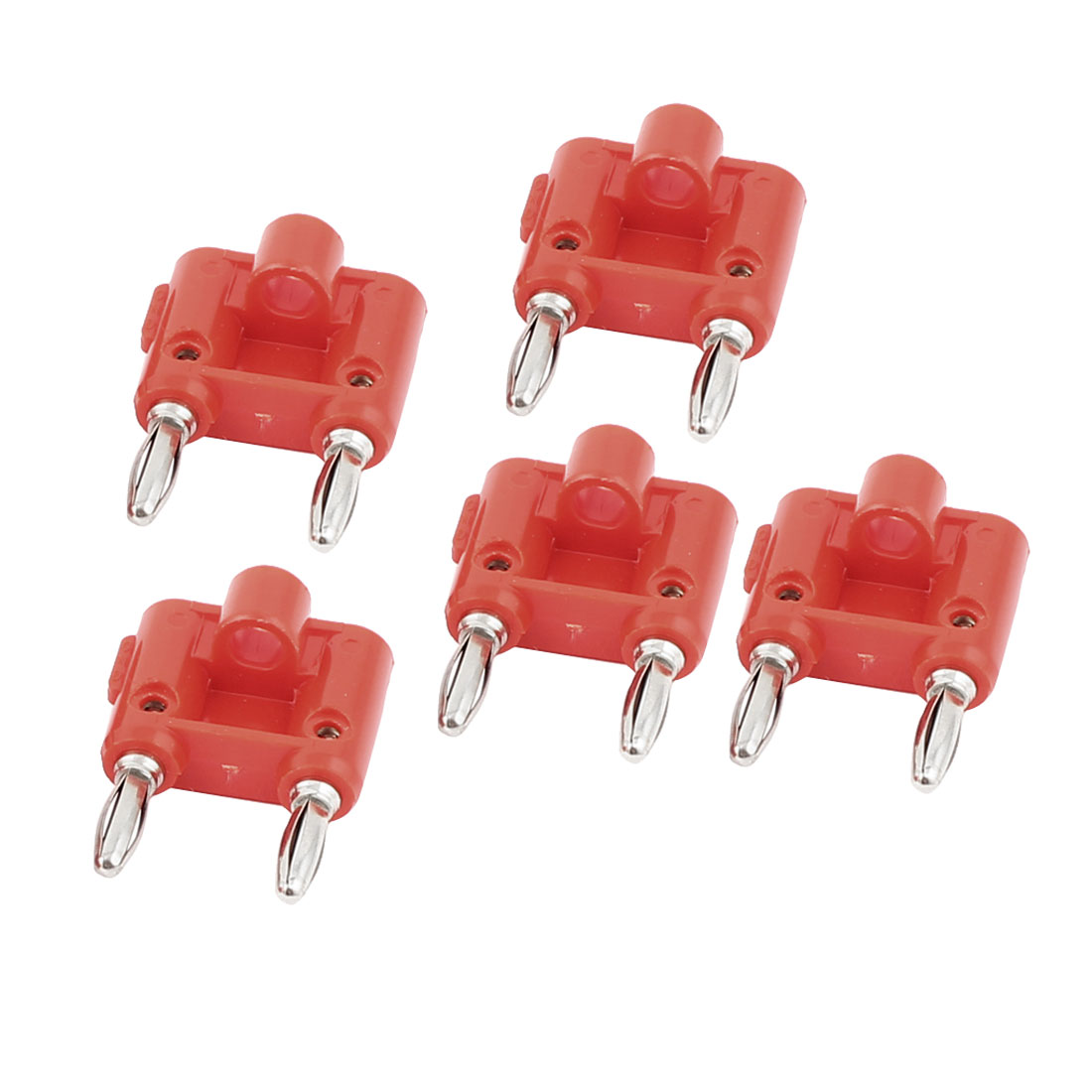 5pcs Red Silver Tone 4mm Wire Cable Dual Port Banana Male Adapter Audio Jack Connectors for Speaker Amplifier Binding Post Test Probes