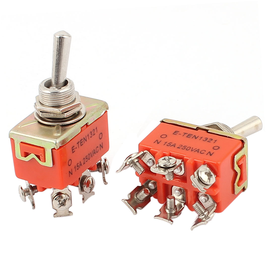 2Pcs E-TEN1321 AC 250V 15A DPDT ON-OFF 2 Position 6 Terminal M12 Panel Mounted Latching Toggle Switch