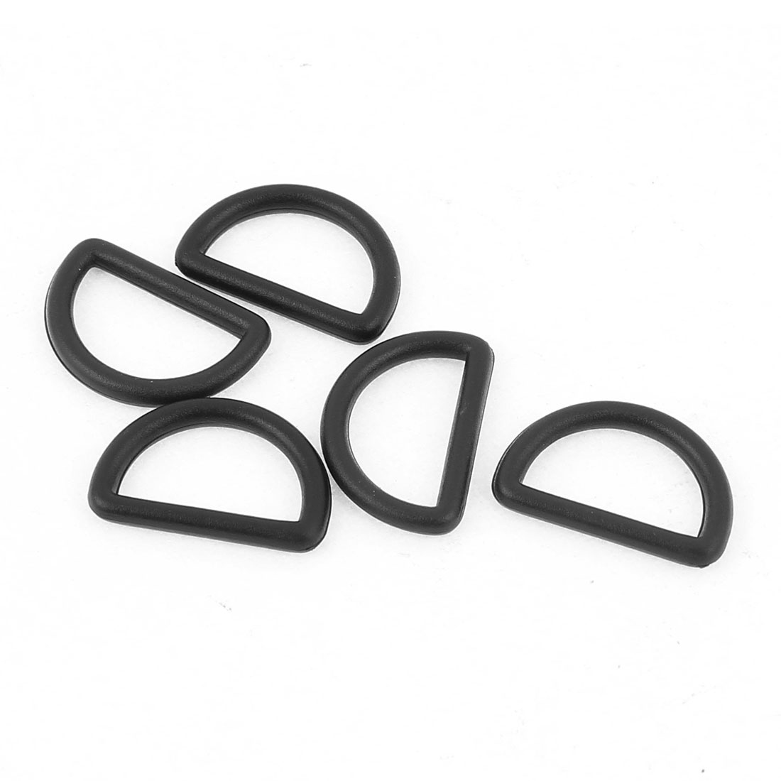 5 Pcs 19mm Width Black Plastic Backpack Belt D Ring Hooks D Shaped Buckle