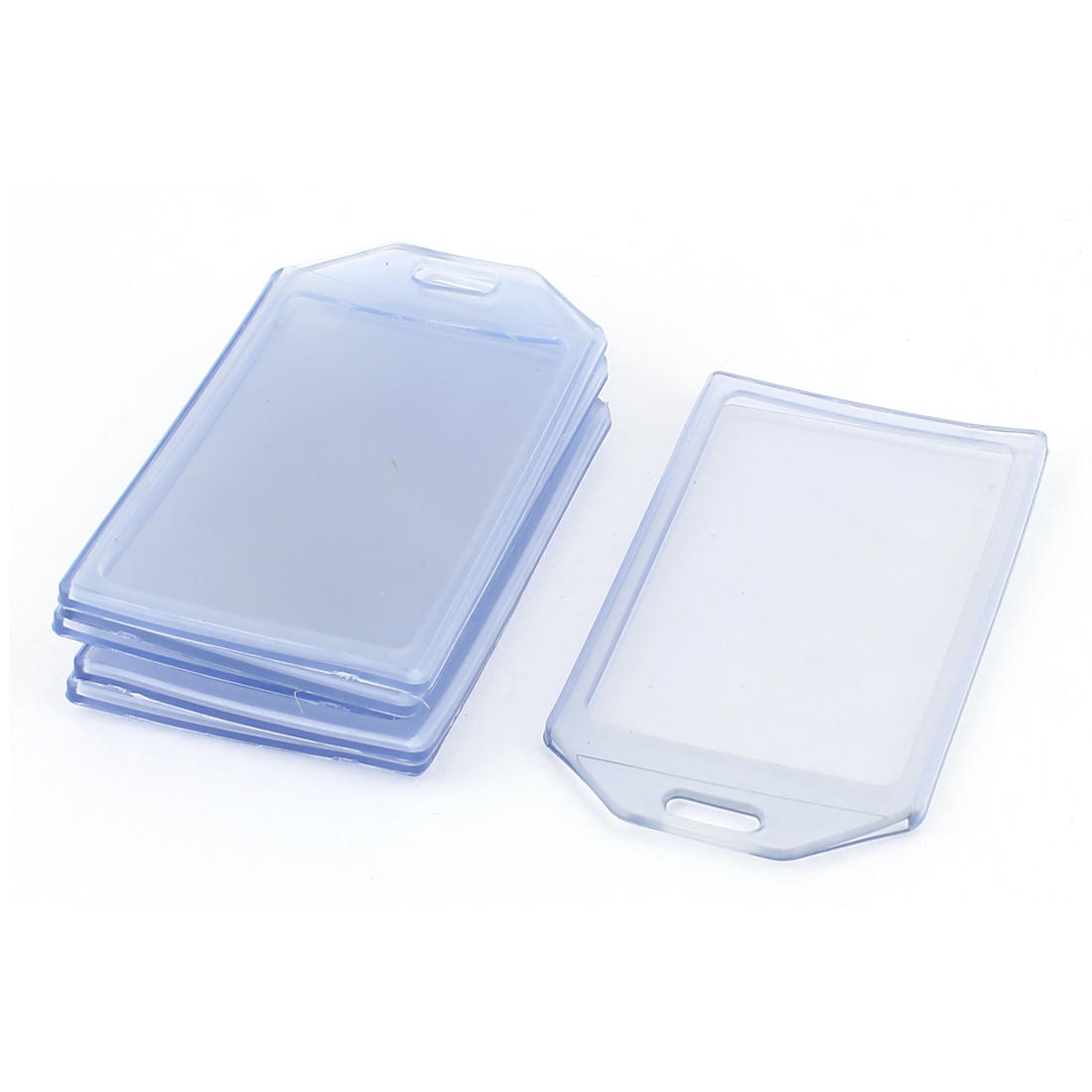 6 Pcs Vertical Clear Blue Plastic Work Exhibition ID Card Badge Holder 85x54mm