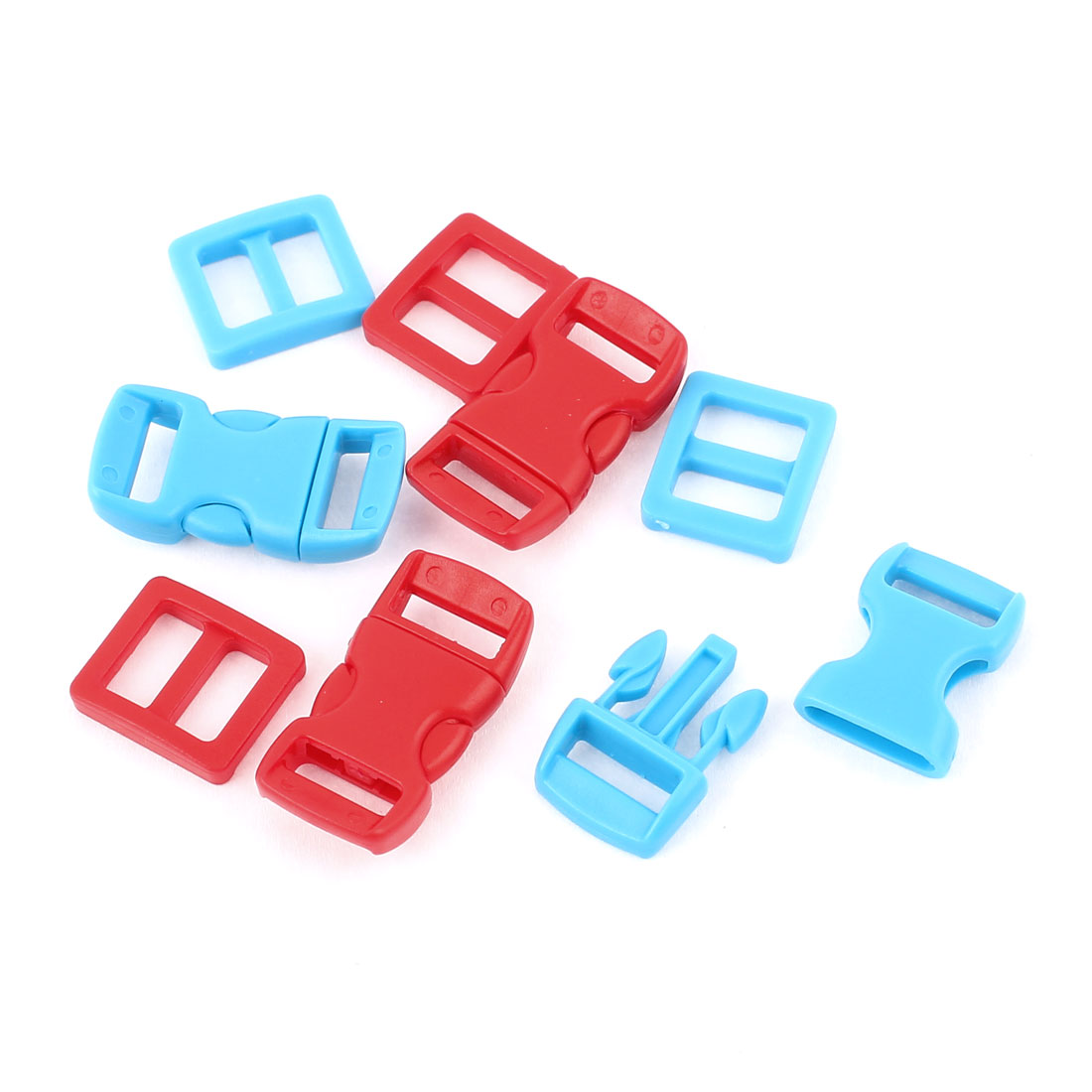 8 in 1 Red Blue 10mm Wdith Plastic Backpack Rucksack Quick Release Buckle Hooks
