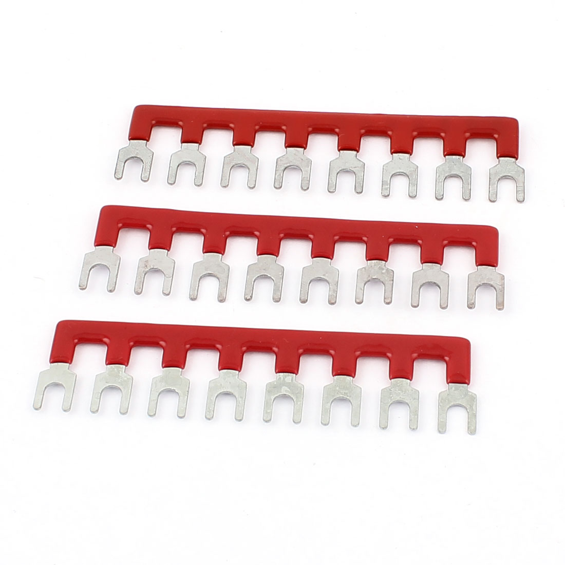 3Pcs TB2508 Fork Type 8 Position Pre Insulated Terminal Strip Jumper Connector Red 600V 25A