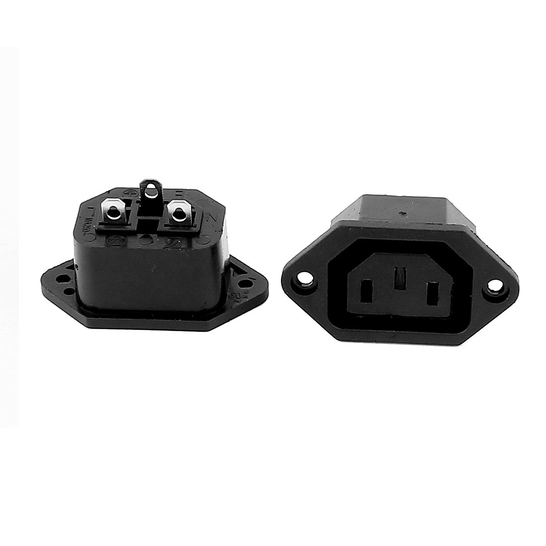 2pcs AC 250V 10A IEC 320 C13 3 Terminal Panel Mount Female Connector Adapter Convertor Power Socket