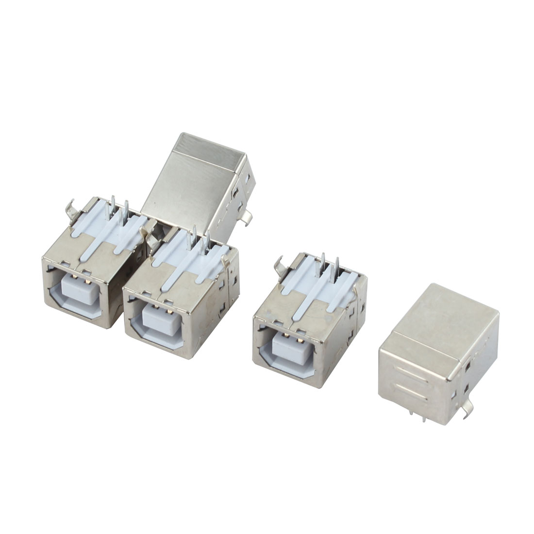 5pcs Right Angle 4 Pins USB Type B PCB Mount Printer Scanner Female Connector Jack Socket