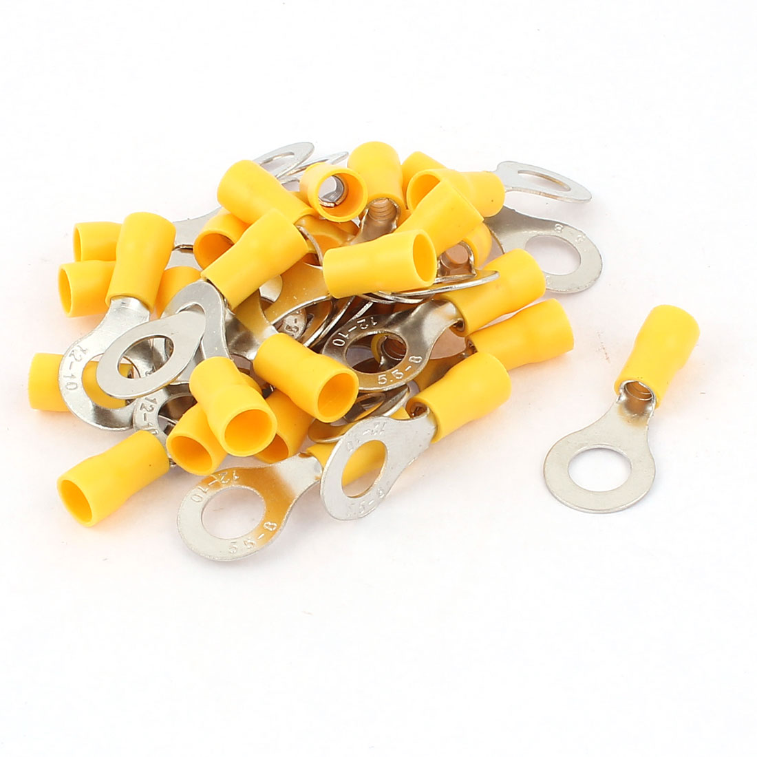 30pcs RV5.5-8 Yellow Plastic Sleeve Pre Insulated Ring Terminals Connector for AWG 12-10 Wire