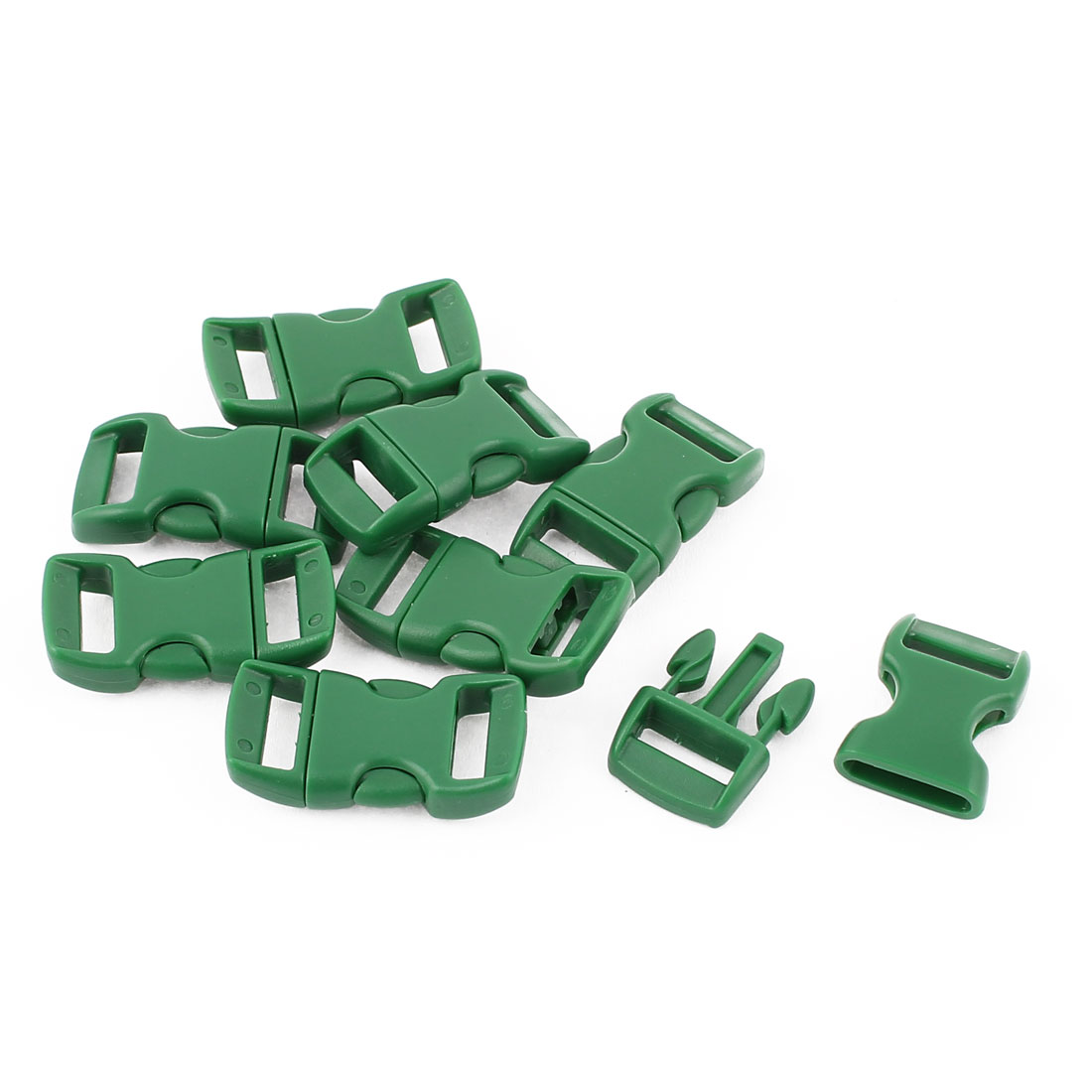 8 Pcs 11mm Width Green Plastic Backpack Rucksack Quick Release Buckle Clip