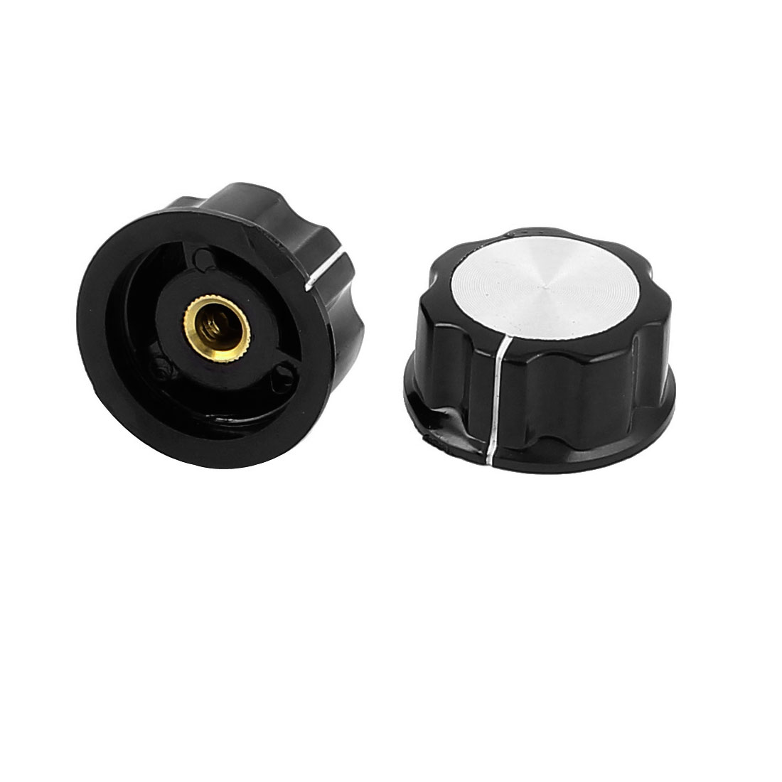 2 Pcs Black Plastic Light Lamp Dimmer Switch Control Potentiometer Rotary Knob Cap for 6mm Shaft